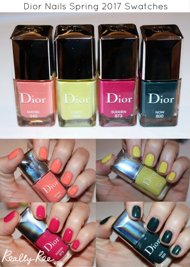 Dior Nails Spring 2017 Swatches- Click through for the full article. Swatches include Dior Nails Maybe, Early, Now & Sudden