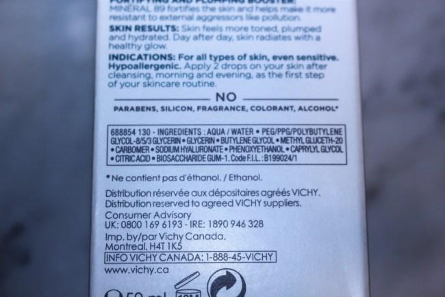 Vichy Mineral 89 Ingredients
