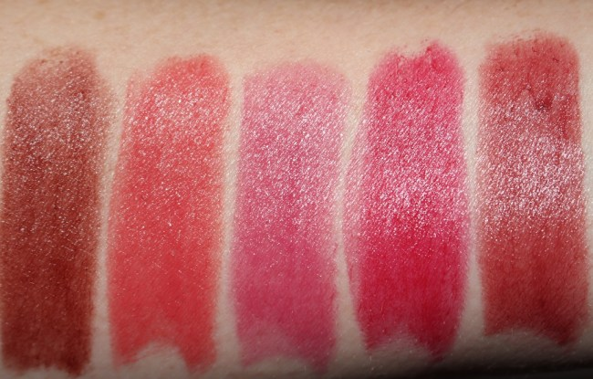 Bobbi Brown Crushed Lip Color - Blackberry, Cabana, Cali Rose, Cherry, Cranberry Swatches