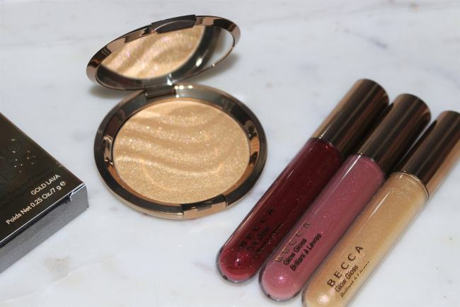 BECCA Gold Lava Shimmering Skin Perfector & Volcano Goddess Glow Gloss
