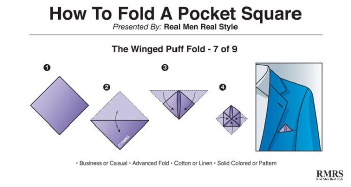 pocket handkerchief fold - winged puff