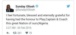 Oliseh's tweets