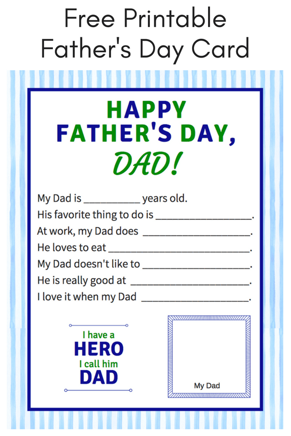 graphic relating to All About My Papa Printable named Totally free Printable Fathers Working day Playing cards In the direction of Produce Father Experience Distinctive