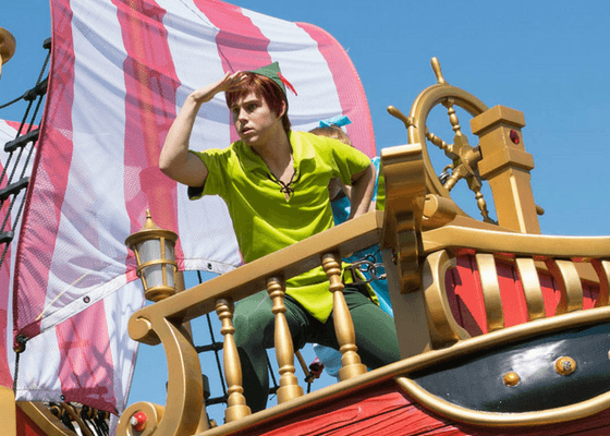 Peter Pan on a float in a Disney world parade