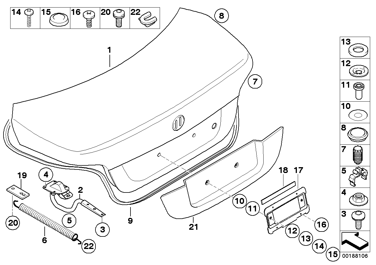 Single ponents for trunk lid