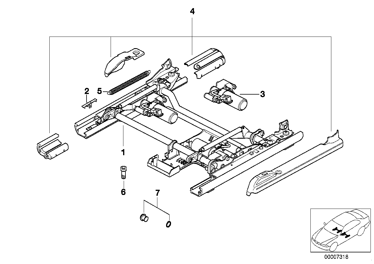 Front seat rail electrical single parts