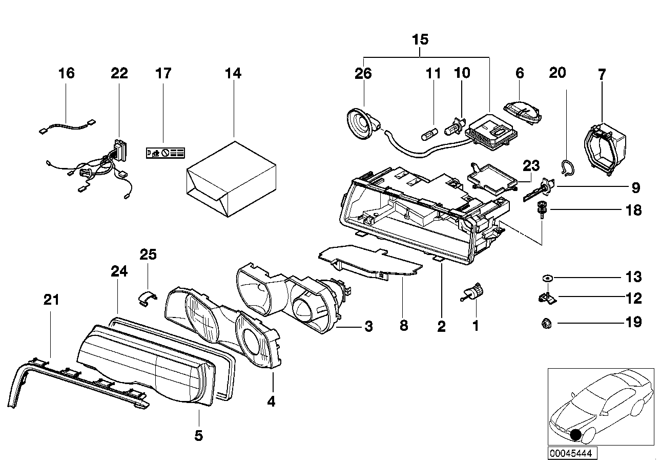 Single parts xenon headlight