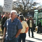 Ed Maltby at a farm rally with farmers and tractors