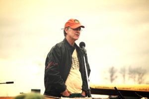 Dave Chapman speaking to a crowd of organic farmers at  rally in Vermont