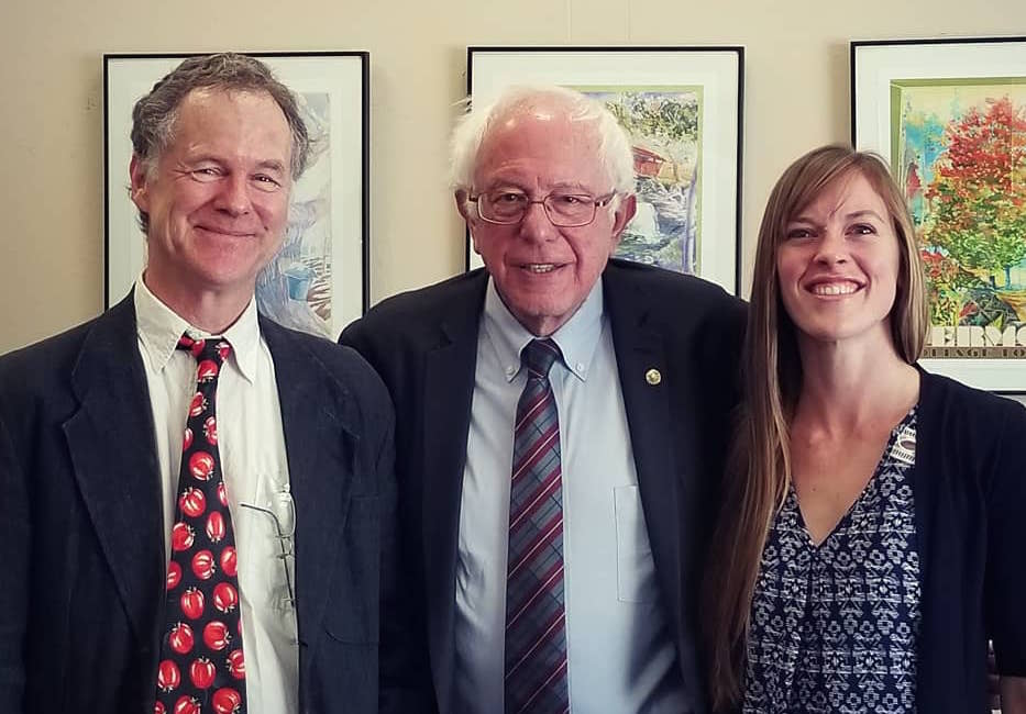 Dave Chapman meeting with Bernie Sanders and NOFA VT's Maddie Kempner during an OFA fly-in to Washington before the Farm Bill in April.