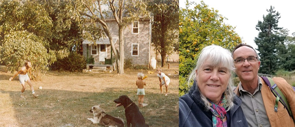 The Brownback family of Pennsylvania's Spiral Path Farm in 1977 and today