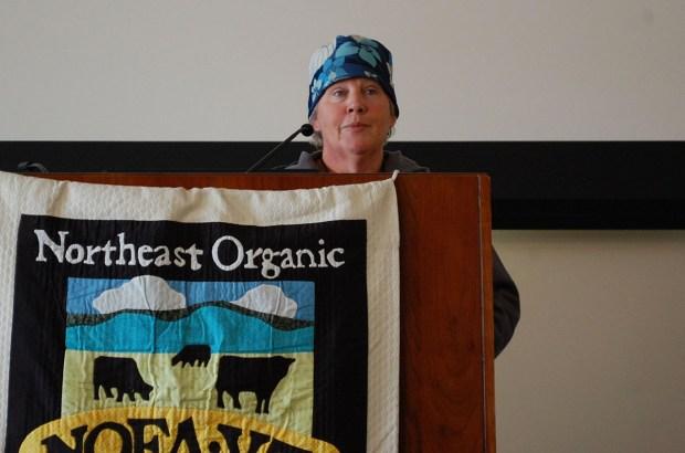 Enid Wonnacott addresses the crowd at a speaking event