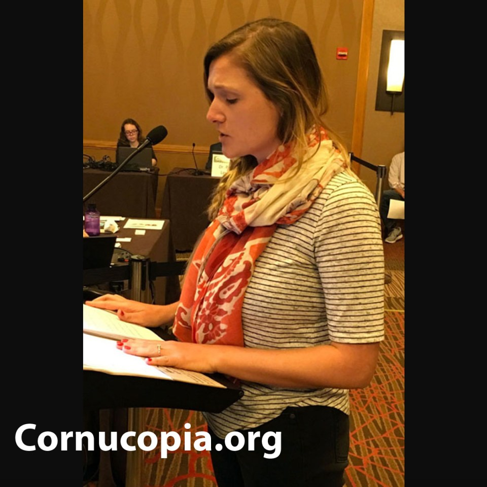 Anaïs Beddard gives her testimony to the NOSB in Jacksonville November 2017