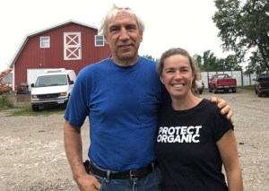 Francis Thicke and Linley Dixon of the Real Organic Project pose at Real Organic certified farm Radiance Dairy in Fairfield, Iowa