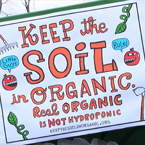 Keep the soil in organic sign at Vermont organic farming rally