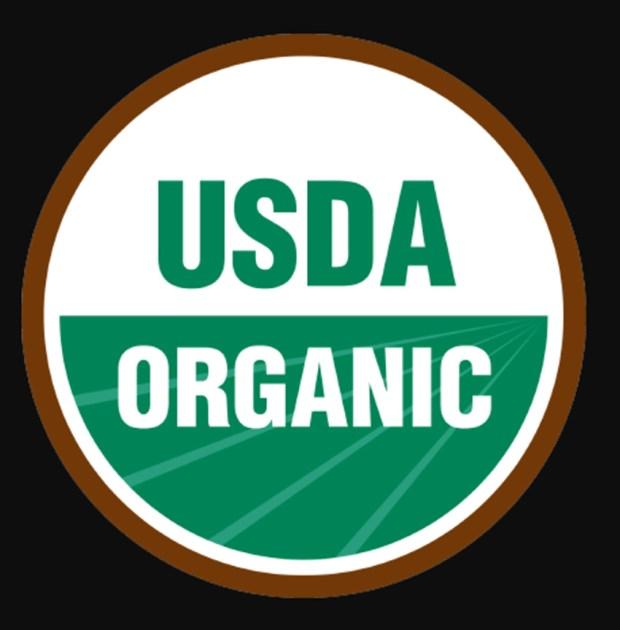 usda organic logo with black background