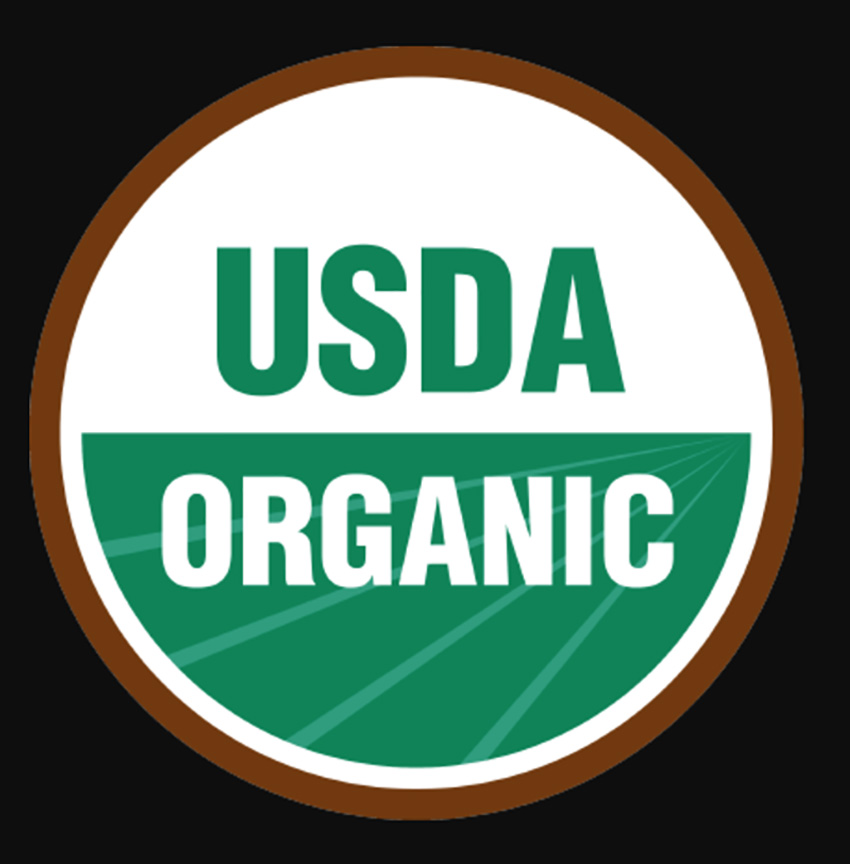 usda organic logo with black background