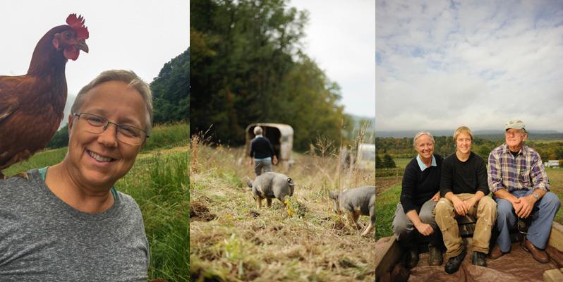 Debra and Hannah with Debra's father at Village Acres Farm