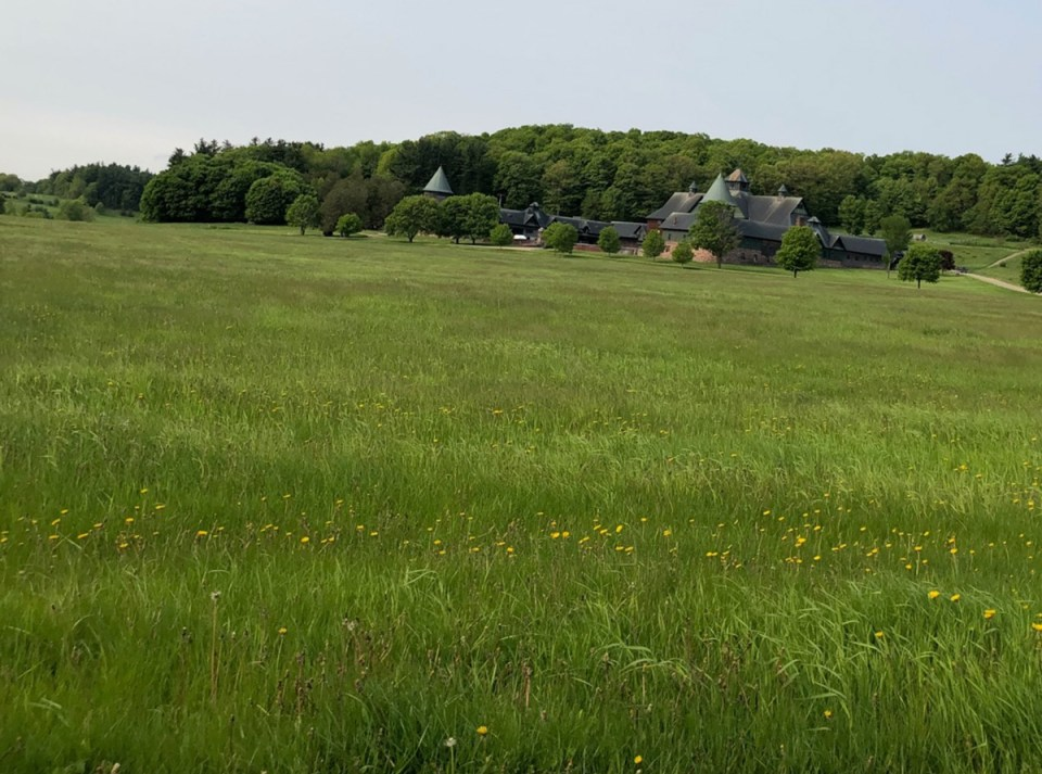 Carbon-rich pasture at educational center and historic farm at Shelburne Farms, Vermont