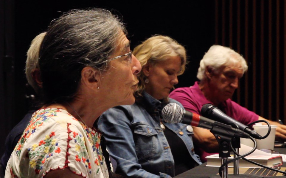 Organic Pioneer Liz Henderson speaking on a panel of Real Organic Project board members at the NOFA Summer Conference.