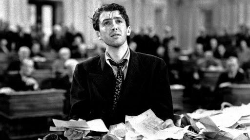 """I hate to go on trying your patience like this--but--well, I'm either dead right or I'm crazy! And I feel fine."" - Jimmy Stewart as Jefferson Smith."