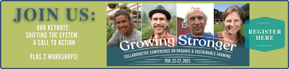 "Flyer with four farmer faces and text that says ""Join Us: Growing Stronger Conference - Register Here"""