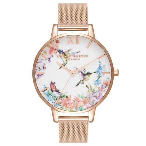 Olivia Burton Painterly Prints Rose Gold White Dial Mesh Watch
