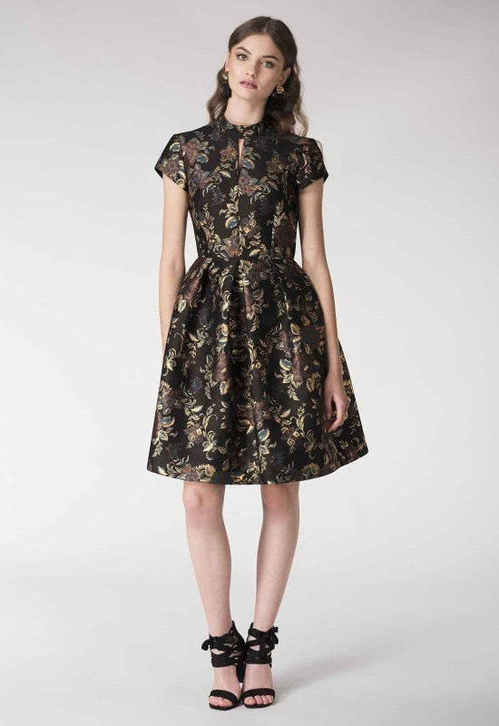 Closet London Metallic Floral Brocade Dress in Black and Gold