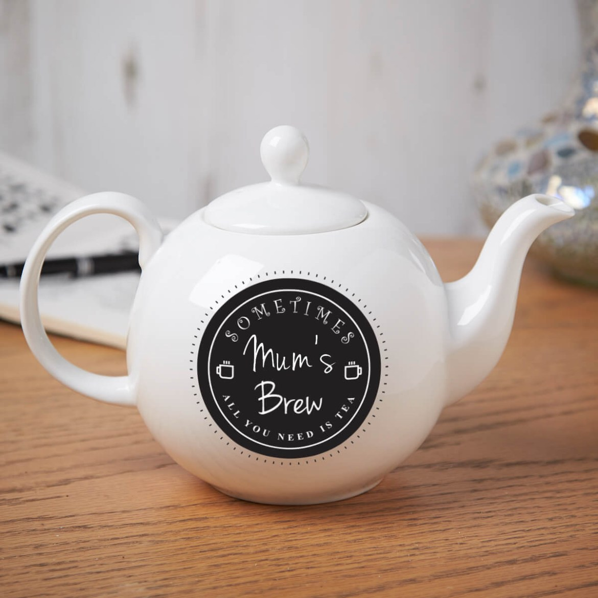 'All you need is Tea' Pot Belly Teapot