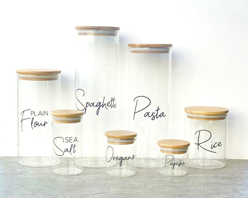 Personalised Glass Jars with Bamboo Lids