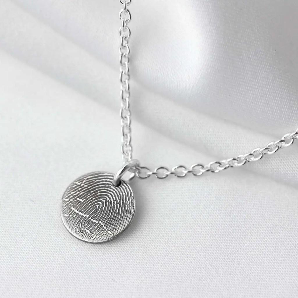 Bespoke Sterling Silver Fingerprint Necklace