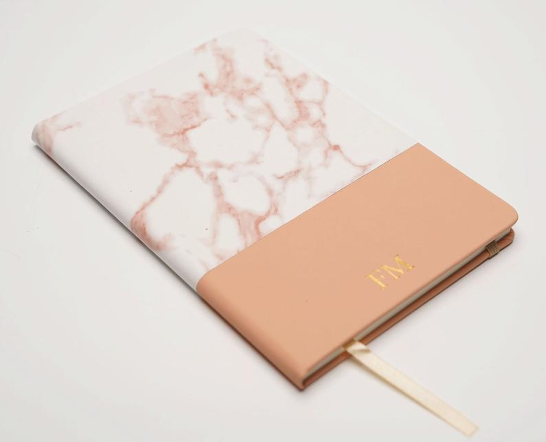 Marble Notebook with Monogram