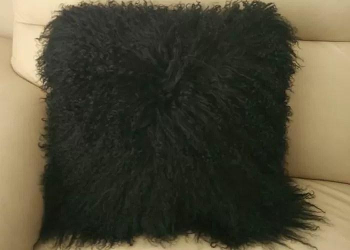 mongolian fur pillow tibetan mongolian sheepskin fur cushion black 45cm