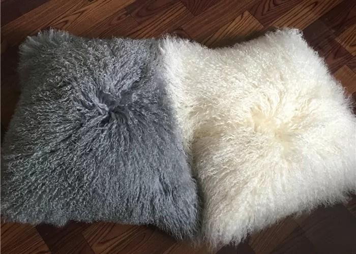 sheepskin curly wool pillow case mongolian wool pillow cover lambskin pillow