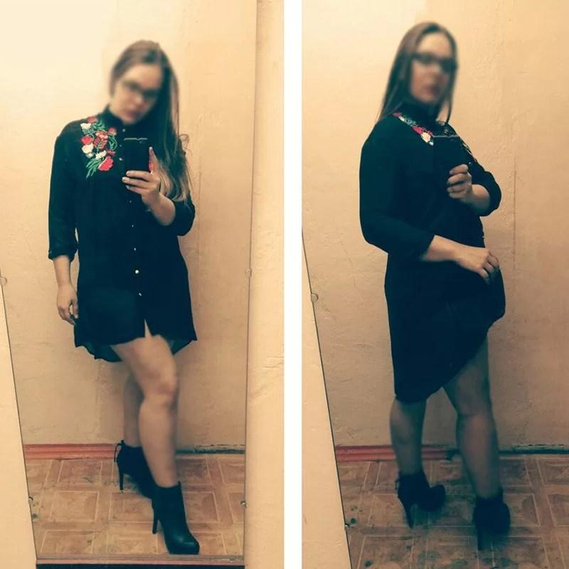 Women Plus Size Vintage Rose Embroidery High Low Shirt Dress Long