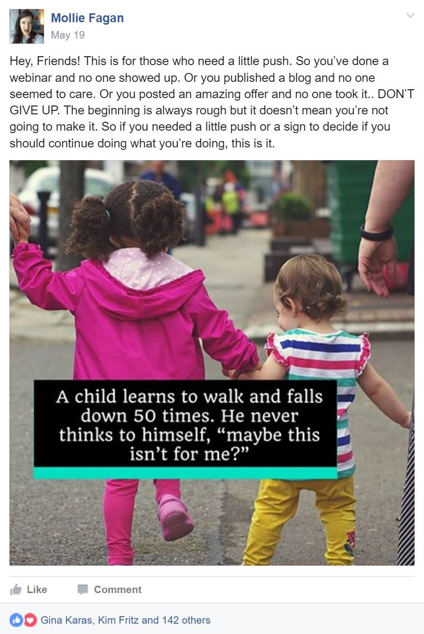 image of a Facebook post that received 144 likes, it shows 2 toddlers walking hand in hand