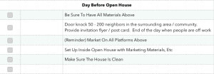 day before open house checklist