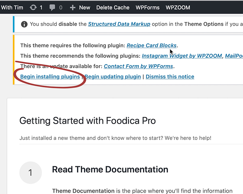 Foodica theme recommended plugins card with the begin installing plugins button circled.