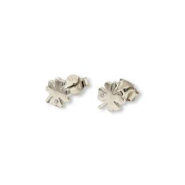 Orecchini quadrifoglio con zircone arg.925