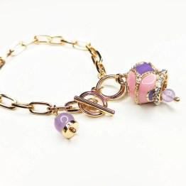 bracciale gold campana viola e rosa