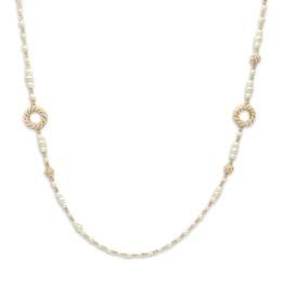 Collana ottone gold perle, sfere e cerchi di perline