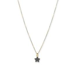 collana argento 925 gold mini stella zirconi neri