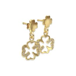 Orecchini pendenti quadrifogli zirconi argento 925 gold