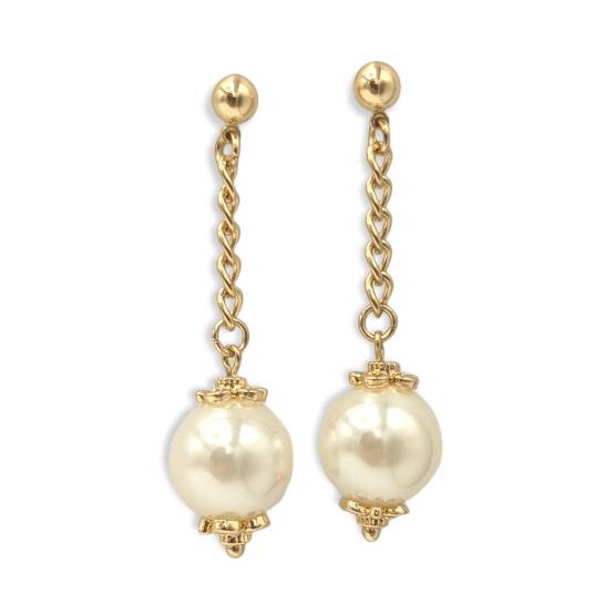 Orecchini bronzo gold perle pendenti