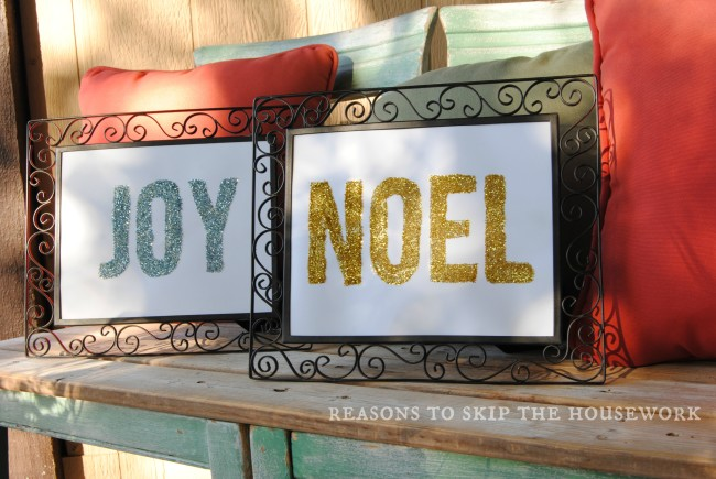 glitter word art