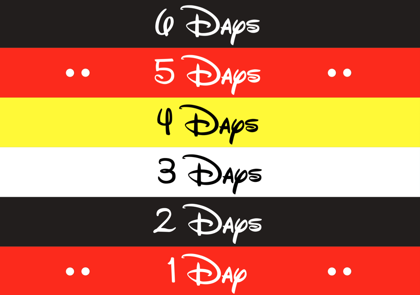 photograph relating to Disney Countdown Printable titled Disney Countdown Chain