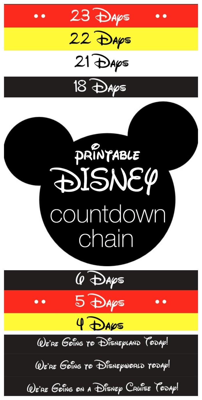 Disney Countdown Chain - Free Printable from Reasons To Skip The Housework #disney