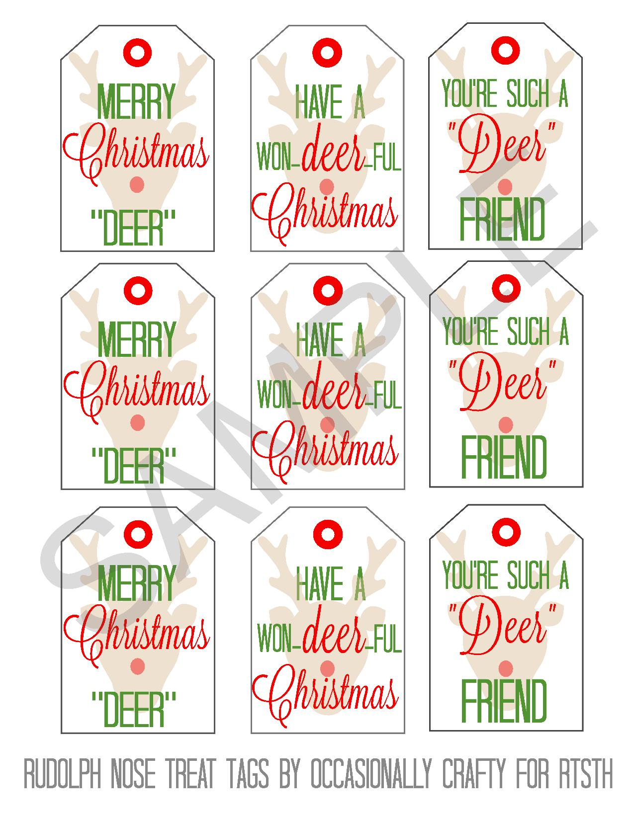 Rudolph Nose Treats Printable Gift Tags