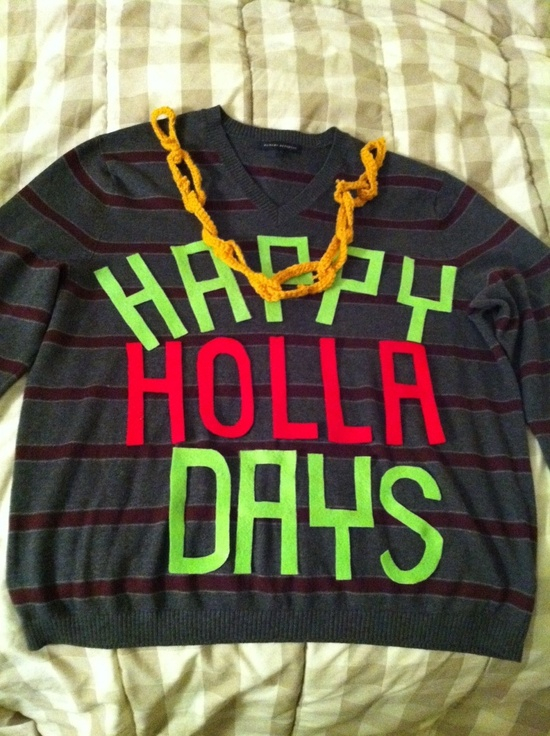 Holla Days Sweater: If you are attending an ugly Christmas sweater party this year, we have got you covered! Here are 25 Ugly Christmas Sweater Ideas for you to use as inspiration.