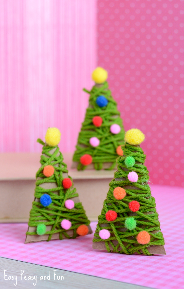 Yarn Wrapped Trees: These creative handmade ornaments will add a special touch to your Christmas tree this season!